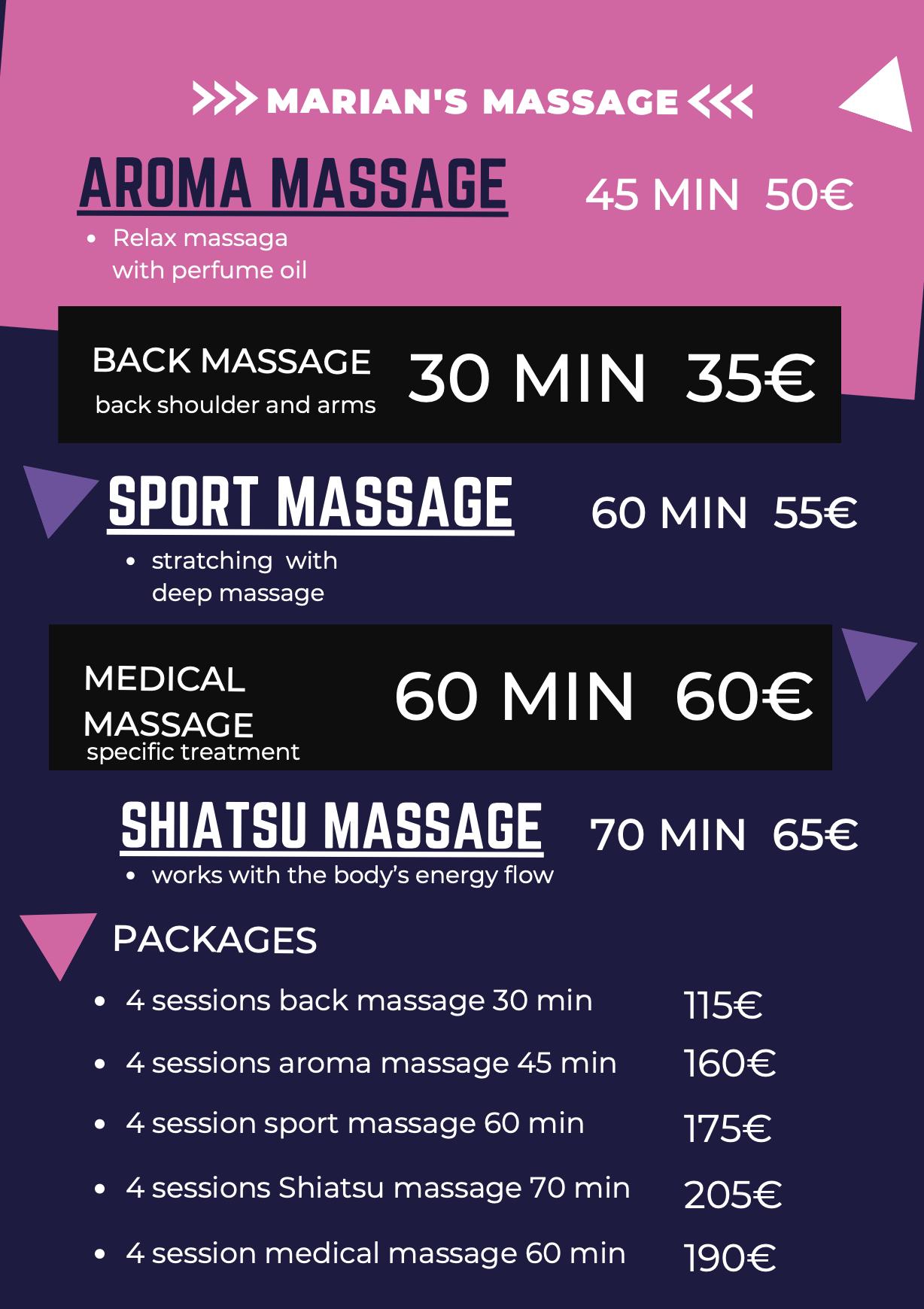 Pricelist Massage Marian Makani Beach Club El Gouna